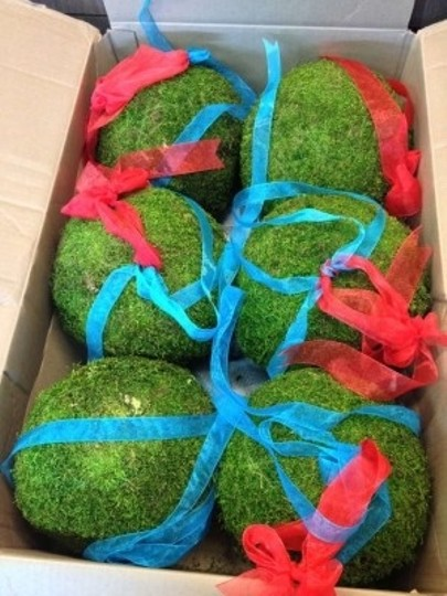 Moss Green Red and Light Blue 6 Hanging Ball Other