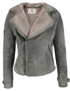 Diesel Shearling Lambskin Gray Leather Jacket