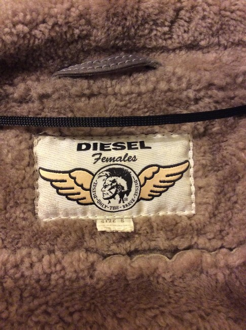 Diesel Shearling Lambskin Leather Motorcycle Hedera Gray Leather Jacket