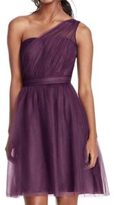 David's Bridal Plum Tulle Db 1-shoulder Feminine Bridesmaid/Mob Dress Size 12 (L)