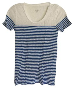J.Crew Linen T Shirt Blue and white stripe