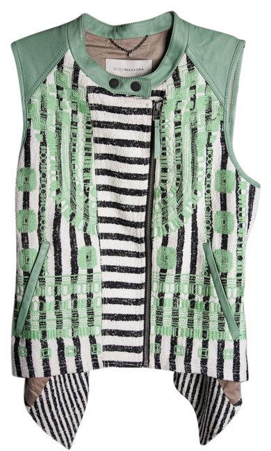 Item - Green/Cream Runway Keth Leather Woven Vest Size 4 (S)