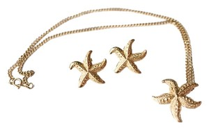 Vintage Starfish Necklace & Stud Earring Set