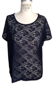 Forever 21 Lace Jersey Open Back Cut Out T Shirt navy blue