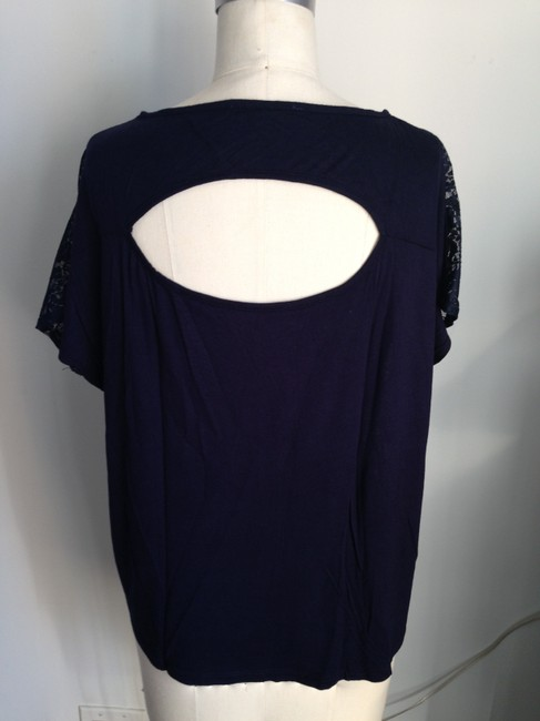 Forever 21 Lace Open Back Cut Out Dolman Sleeve T Shirt navy blue