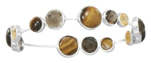 Silver Stars Collection Tiger's Eye, Quartz, and Citrine Stackable Bangle