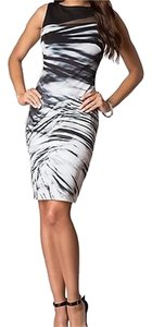 J. Jill Sleeveless Lines Stripes Sheer Formal Party Holiday Pretty Dress