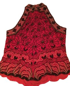 Papell Boutique Top Red with black and gold beads!