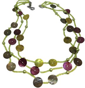Triple Strand Green Beaded Necklace Dyed Mussel Shell Pink Iridescent Gold