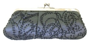La Regale Evening Beaded Satin Silver Frame Clutch Cross Body Bag