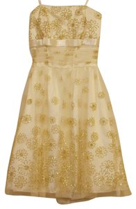 B. Darlin Glitter Strapless Gold Dress