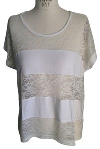 Forever 21 Lace Jersey Dolman Sleeve T Shirt off-white