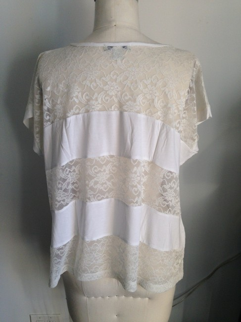Forever 21 Lace Dolman Sleeve Short Sleeve T Shirt off-white