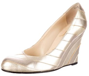 Christian Louboutin Pump Evening Stripes Platform Gold, Silver Wedges