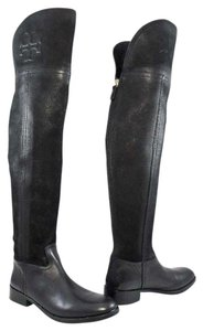 Tory Burch Boot Distressed Leather Logo Black Boots