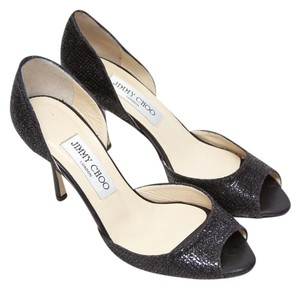 Jimmy Choo Faux Snakeskin Sparkle Fabric Black Pumps