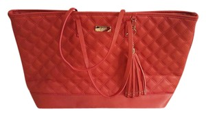 BCBG Paris Quilted Gold Hardware Tote in Orange