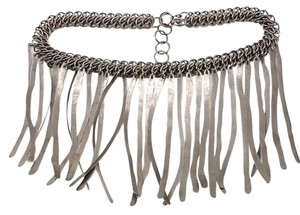 AgaTha CouTure Hand Made Collection AgaTha CouTure Hand Made Collection Silver Brush Metal Choker Dangling Wire