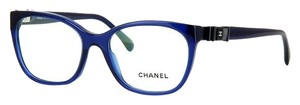Chanel Patent Leather Bow Charm Cat Eye Eyeglasses CH5281 (Blue)