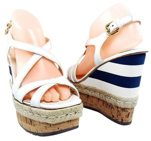 Prada Platform Sandal Espadrille Patent Leather White/Blue Wedges