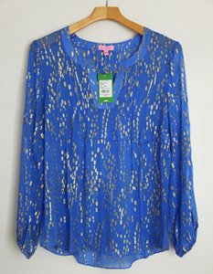 Lilly Pulitzer Silk Gold Blue Top periwinkle blue