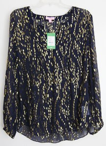 Lilly Pulitzer Silk Top Navy and gold