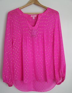 Lilly Pulitzer Silk Top hot pink and gold