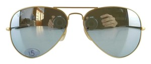 Ray-Ban Gently Used Ray-Ban Sunglasses RB 3025 112/W3 Matte Gold Aviator Large Metal Polarized Reflective Mirror Lens Full-Frame Made in Italy 58mm