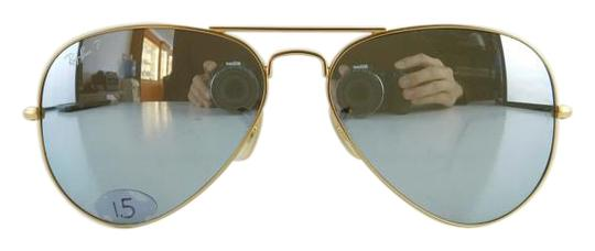8712a6ec7c Ray-Ban Matte Gold Frame Polarized Reflective Mirror Lens Gently Used 3025  112 W3 Aviator Large Metal Full-frame Sunglasses
