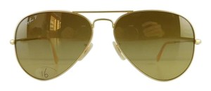 Ray-Ban Gently Used Ray-Ban Sunglasses RB 3025 112/M2 Matte Gold Aviator Large Metal Polarized Brown Gradient Lens Full-Frame Made in Italy 58mm