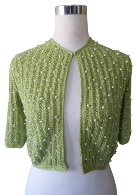 Wendy Hil Wool Blend Short Sleeve Crop Pearl Metallic Sweater