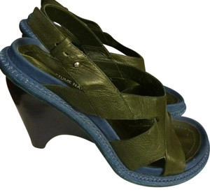 CoSTUME NATIONAL Blue, Dark Green Sandals