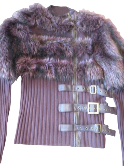 Item - W Zip W/ Faux Fur and Leather Buckles Purple Sweater