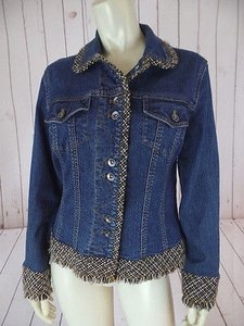 Coldwater Creek Jean Cotton Spandex Blend Denim Fringed Chic Blue Wash Womens Jean Jacket