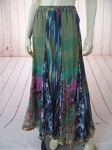 Soft Surroundings Pxs Long Maxi Peasant Poly Crinkle Elastic Waist Hippie Skirt Multi-Color
