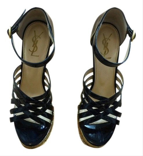 Saint Laurent Ysl Yves Patent Leather Sandal Urpersonalshoppers Black/Gold Wedges
