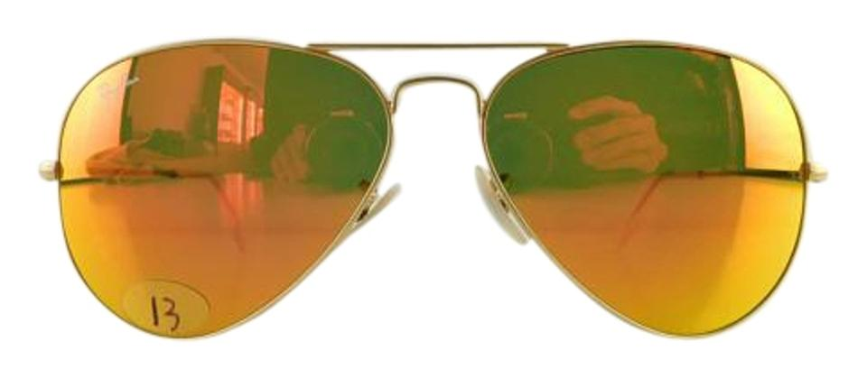 2320119fe08 Ray-Ban Matte Gold Frame Reflective Red Mirror Lens Gently Used 3025 ...