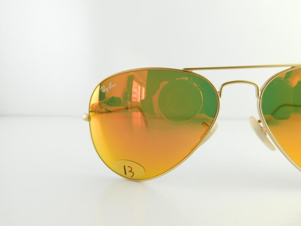 77c527eb25d Ray-Ban Matte Gold Frame Reflective Red Mirror Lens Gently Used 3025 ...