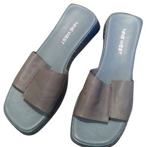 Nine West Blue Leather Slip-on Rubber Heel Comfortable Light Blue Sandals