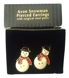 Avon Vintage Avon Snowman Pierced Earrings with surgical steel posts New in Box