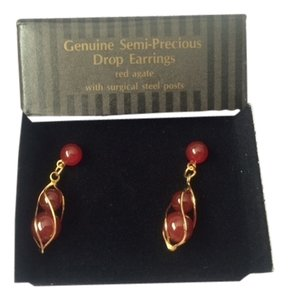 Avon Vintage Avon Genuine Semi-Precious Drop Earrings Red Agate with Surgical Steel Posts New in Box