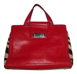 Adrienne Vittadini Pony Hair Tote in red leather, black/white zebra pattern
