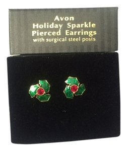 Avon Vintage Avon Holiday Sparkle Pierced Earrings with surgical steel posts New in Box