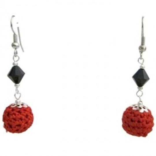 Orange Trendy Fashionable Chic Crochet Black Glass Beads Earrings