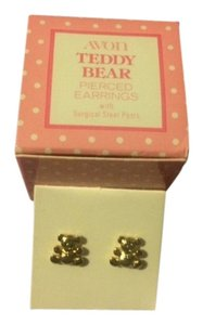 Avon Vintage Avon Teddy Bear Pierced Earrings with surgical steel posts 1978 New in Box