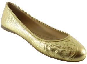 Tory Burch Ruby Leather Ballet Gold Flats