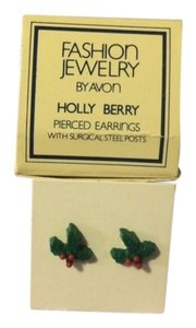 Avon Vintage Fashion Jewelry by Avon Holly Berry Pierced Earrings with surgical steel posts New in Box 1981