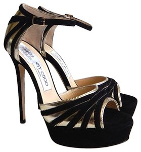 Jimmy Choo Suede Patent Leather Sandal Black. Gold Sandals