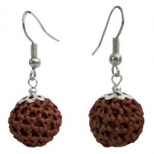 Brown Chocolate Color Crochet Round Inexpensive Gift Earrings