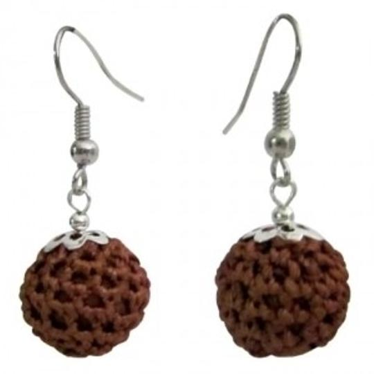 Brown Chocolate Color Crochet Round Earrings Inexpensive Gift